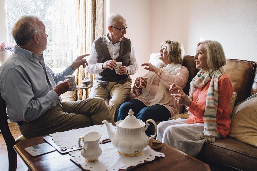senior people talking