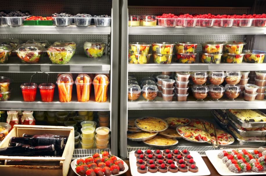 Organic foods stored in a refrigerator