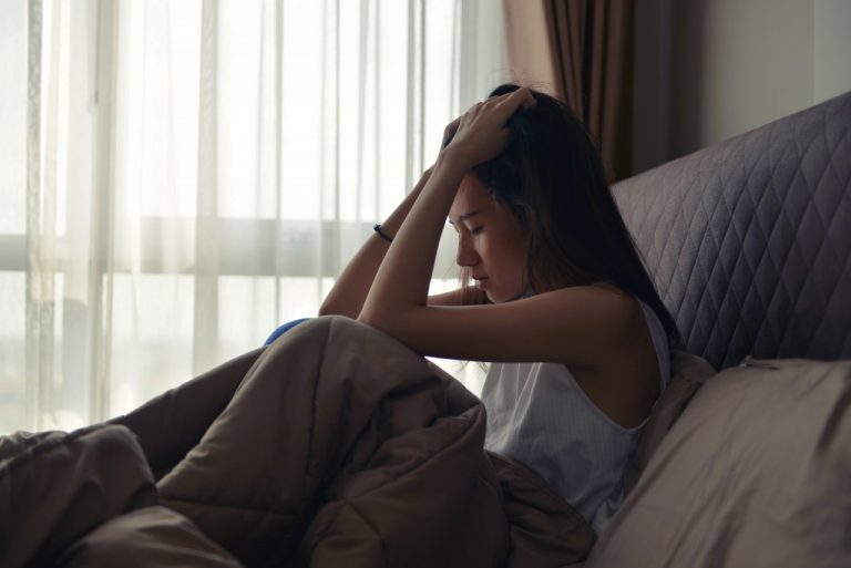 woman crying depressed