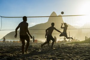 beach volleyball with net