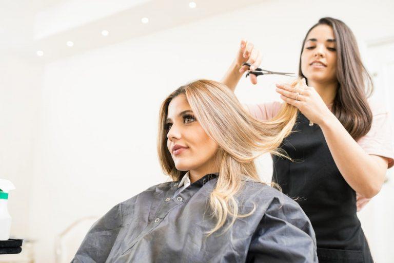 getting hair treatment