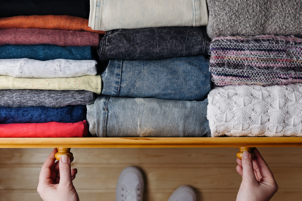 clothes in a cabinet