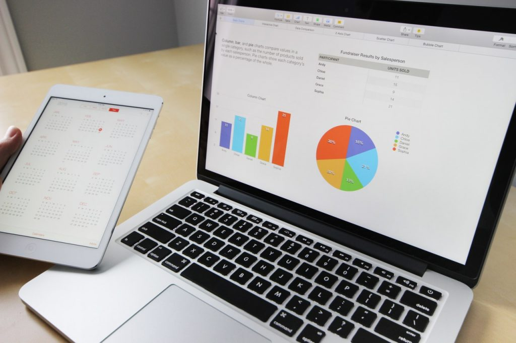analytics graph laptop